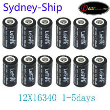 AUship 12 X3.7V CR123A 16340 Li-ion Rechargeable Battey Fit Ultrafire LED Torch