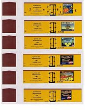 24 different orange & lemon TT scale boxcars, printed reefer sides