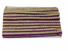 9 mtr lace border trim craft  purple pipping silver embroidery pearl gold stone
