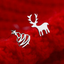 Lady Simple Asymmetric Deer Christmas Tree Silver Ear Stud Earrings Pierced Gift