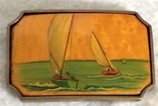 Vintage Ward E. Herrmann Hand Painted Boats Sailing Brass Wood Belt Buckle BTS
