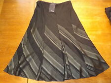 "New Ex-M&S Ladies Chcoal Chevron Pull-on Lined ALine Skirt Size 12 Lgth 30""(£35)"