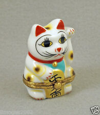 NEW FRENCH LIMOGES TRINKET BOX JAPANESE LUCKY CAT SYMBOL OF GOOD FORTUNE & LUCK