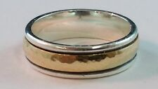 James Avery Hammered Simplicity Wedding Band Sterling Silver 14k Gold Size 9.25