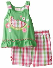Kids Headquarters Baby-Girls NWT Green Tee Pink Green Plaided Shorts 3-6 M