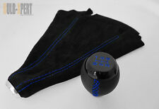 HONDA CIVIC SI COUPE 5 SPEED BLK LEATHER SHIFT KNOB+SUEDE BOOT BLUE STITCH COMBO