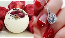 Huge Bath Bomb With Diamond Jewelry Necklace Inside Fun Fizzy Surprise Spa