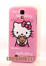 for Samsung galaxy S4 cute hello kitty s 4 phone case skin pink w/ teddy bear //