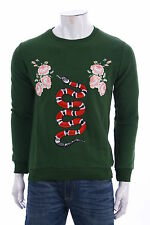 GUCCI MAN SWEATER SHIRT GREEN Snake and Roses SZ  S / 46