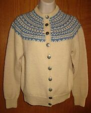 Vtg Husfliden Bergen Blue Cream Norwegian Handmade Wool Cardigan Sweater Small S