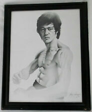 "BRUCE LEE 1994 Lithograph 20 x 24"" Signed Gary Saderup-Framed-28 X 21"""