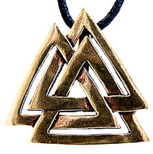 56 großer Wotansknoten Bronze Anhänger mit Band Wotan Odin Wotans Knoten Valknut