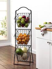 Kitchen Market Basket Rack Holder Fruit Vegetable 3 Tier Storage Stand Display