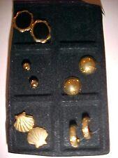 Faux Pearl Black Enamel Gold Hoop Earring SET of 5 Pierced Earrings