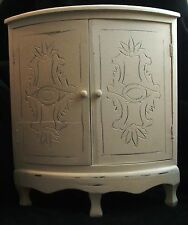 Vintage Decorated Off White Wood Corner Cabinet With Shelf And Etched Doors