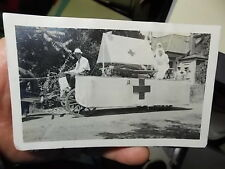 VINT SNAPSHOT PHOTO, RED CROSS PARADE FLOAT IN THE SHAPE OF A BOAT  WW1 ERA?