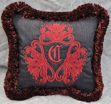 Personalized Embroidered Pillow made w Ralph Lauren Poet Society Blue Fabric NEW
