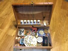 Vintage cedar jewelry box and jewelry