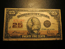 1923 DOMINION OF CANADA SHINPLASTER 25 CENTS PAPER MCCAVOUR SAUNDERS 421393