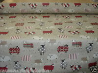 SMD SWATCHBOX BAA BAA SHEEP PEONY RED 100% COTTON FABRIC FOR CURTAINS & CUSHIONS