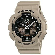 New Casio Men's G-Shock GA100SD-8A Black Dial Beige Band Military Watch