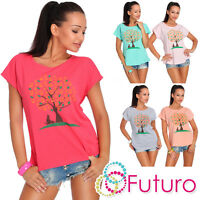 Casual T-Shirt Tree Print Short Sleeve Ladies Top 100% Cotton Size 8-14 FB118