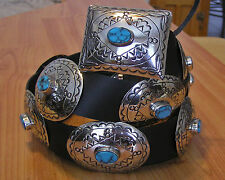 GORGEOUS Navajo Indian handmade Turquoise & Nickel Silver Concho Belt. Kayonnie