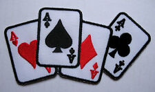 ACE CARDS OF ALL FOUR SUITS Embroidered Iron on Patch Free Postage