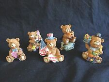 "Teddy Bear Figurines Set of 5 Holidays 2"" USA Flag Halloween Thanksgiving Easter"