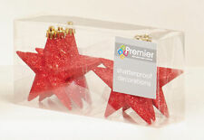 12 x  RED Glitter Stars shatterproof Christmas tree Baubles Decorations