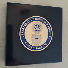 "DHS Homeland Security USCG SEMPER PARATUS 1.75"" Coin 3X3 Black Marble Plaque"