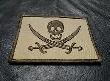 CALICO JACK JOLLY ROGER  PIRATE FLAG SKULL SWORDS  HOOK LOOP  PATCH