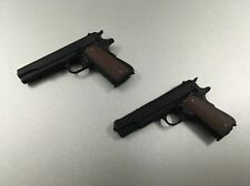 Custom Made 1/6 Scale Black Police Pistol X 2 Fit Hot Toys Dam Body Head