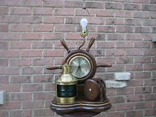 Vintage COLLECTIBLE NAUTICAL TABLE LAMP CLOCK LANTERN STARBOARD SHIPS WHEEL