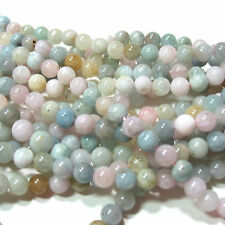 "Multi-Color Morganite Beryl 6mm Round Stone Beads 16"" Blue Green Pink"