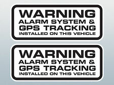 2 X Car Alarm Sticker / GPS Tracker Installed Warning Sticker. Alarm Decal.