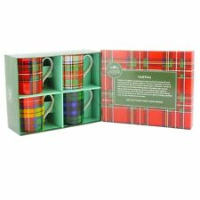 Set 4 Tartan Design Quality Fine China Mugs  in Gift Box . Perfect Gift