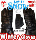 Men's 100% Black Lambskin Leather Winter Gloves Motorcycle Gloves, Bike Gloves
