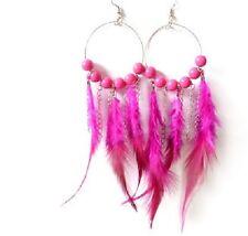 Boucle d'Oreille plume créole plume et perle rose