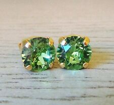 Green Peridot Gold Stud Earrings w/ Swarovski® Crystals