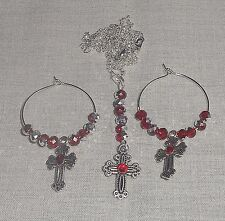3 Piece Red Rhinestone Czech Crystals Cross Pendant Necklace & Earrings Set