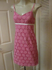 LILY PULITZER PRETTY BRIGHT PINK COTTON EYELET LACE EMBROIDERY SLIP DRESS XS 0