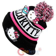 Sanrio Hello Kitty Beanie Intarsia Cuff Pom Beanie Hat Pink Black Cap Teen/Adult