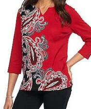 Alfred Dunner shirt size  Medium M. Red, Black, Gray Paisley print