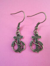 Vintage Cute Bronze Anchor Earrings Brand New Kitsch Nautical Sailor