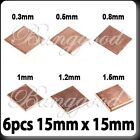 6pcs Heatsink Thermal Copper Pad Shim for HP Dell Acer Laptop GPU CPU 15mmx15mm