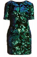 Topshop Green Black Velvet Sequin Mermaid Shimmer Vtg Mini Party Dress 8 4 36 S
