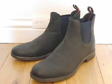 NEW Mens UK 8 EU 42 Wrangler W161 pull on black Navy Leather chelsea ankle Boots