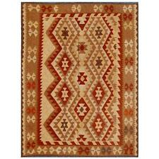 Afghan Hand-knotted Mimana Kilim Ivory/ Brown Wool Rug (4'10 x 6'4)