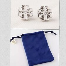 AUTHENTIC TORY BURCH LOGO STUD EARRINGS-SILVER TONE-RV $75-NEW!